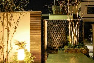 ナイトシーン<br /> 壁に映った樹木や、タイルの凹凸を考えたライトアップ。