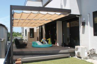 ウッドデッキだけでなく、サンシェードを取り付けることで、強い日差しを遮り、快適にお庭で過ごすことができます。